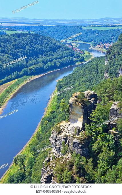 View from the Bastei Rocks to the Elbe river, Saxon Switzerland near Dresden, Germany