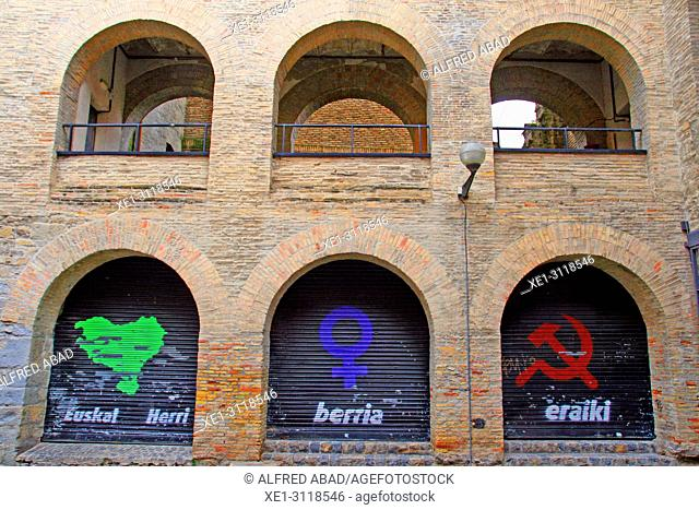 graffitis, building of La Caldereria, Pamplona, Navarra, Spain