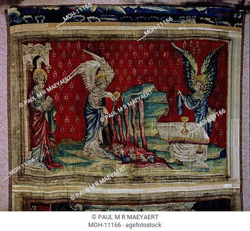 La Tenture de l'Apocalypse d'Angers, Le flacon versé sur les eaux 1,61 x 2,4Om, der dritte Engel gießt seine Schale in die Wasserströme