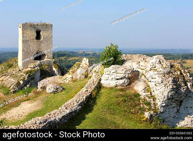 Ruins of medieval gothic Olsztyn Castle located on the Polish Jurassic Highland, Olsztyn, Silesia, Poland