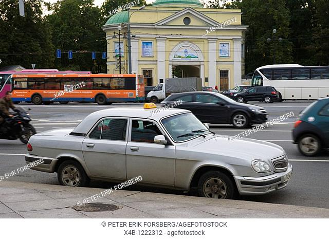 Taxi at Alexandra Nevskogo square central St Petersburg Russia Europe