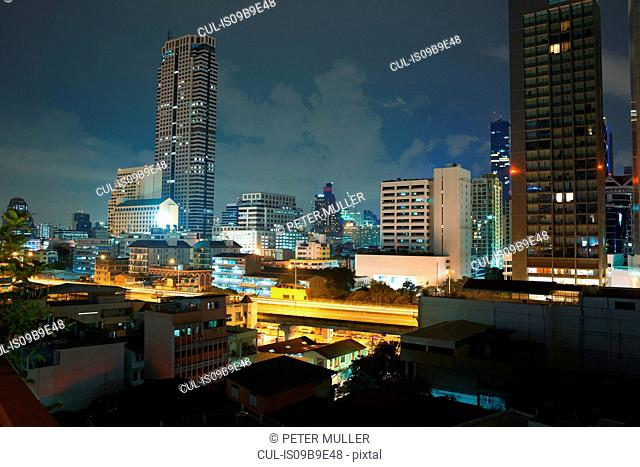 Cityscape with skyscraper skyline at night, Bangkok, Thailand
