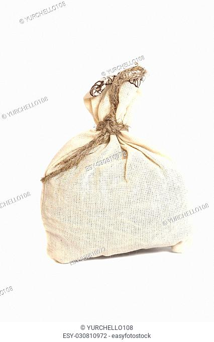 Tied with rope sack bag isolated on white