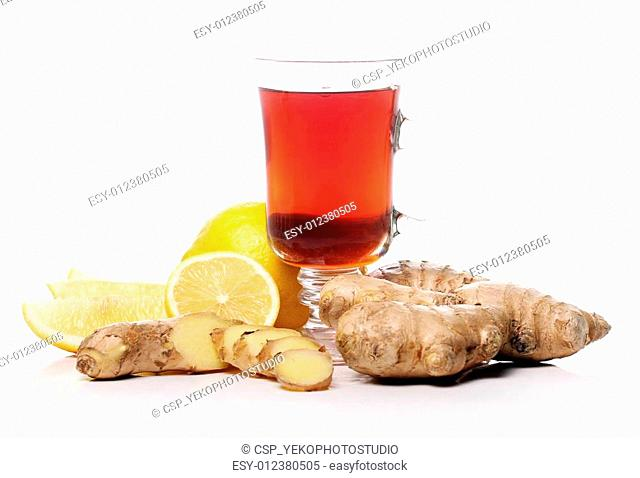 Hot tea with ginger and lemon