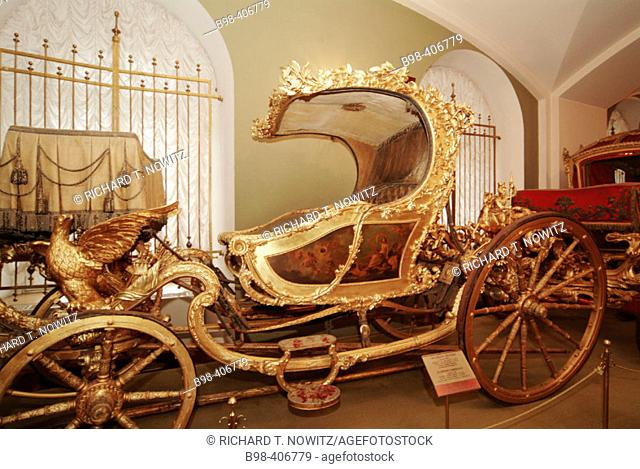 Moscow, Russia, Treasury Museum, Kremlin, coaches of tzar, horse drawn coach collection