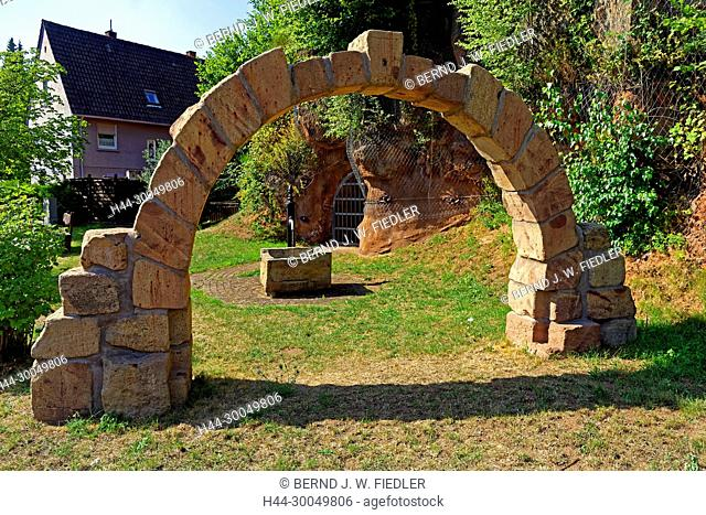 Arm sinner's wells, archways, rock stone, reconstruction, Rodalben Germany