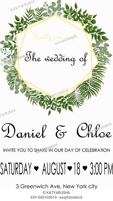 Wedding Invitation, rsvp modern card Design. Vector natural, botanical, elegant template.Wedding floral watercolor style, invitation