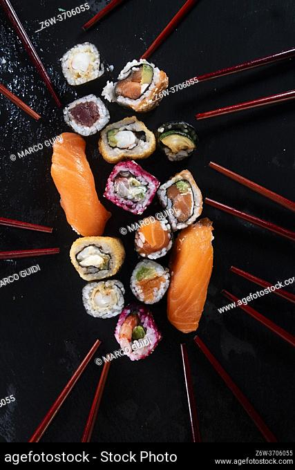 Photographic representation of the colors of sushi on a black background