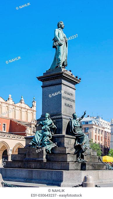 Monument of Adam Mickiewicz, Polish national romatic poet and dramatist on Main Market Square in Krakow, Poland