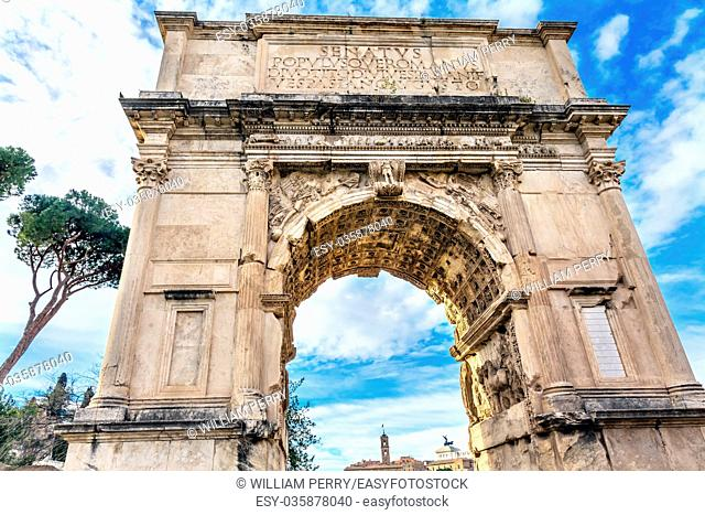 Titus Arch Roman Forum Rome Italy. Stone arch was erected in 81 AD in honor of Emperor Vespasian and his son Titus for conqueiring Jerusalem and destroying the...