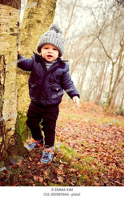 Portrait of male toddler in knitted hat leaning against forest tree