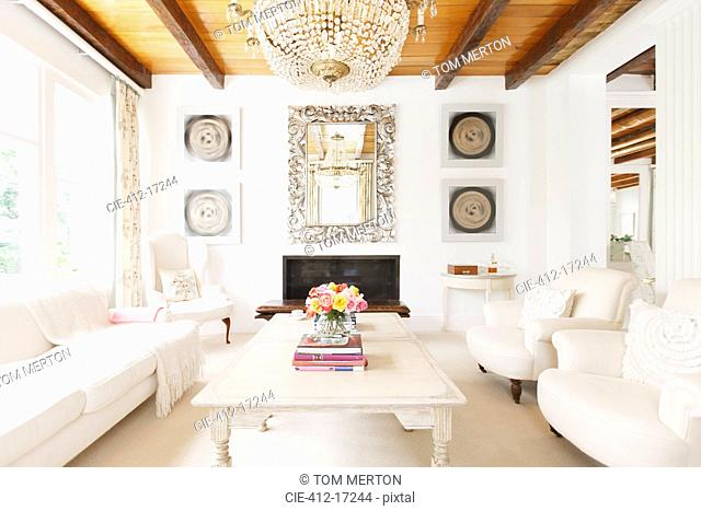 Luxury living room with chandelier
