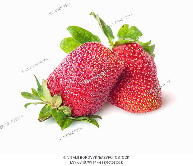 Two freshly strawberries isolated on white background