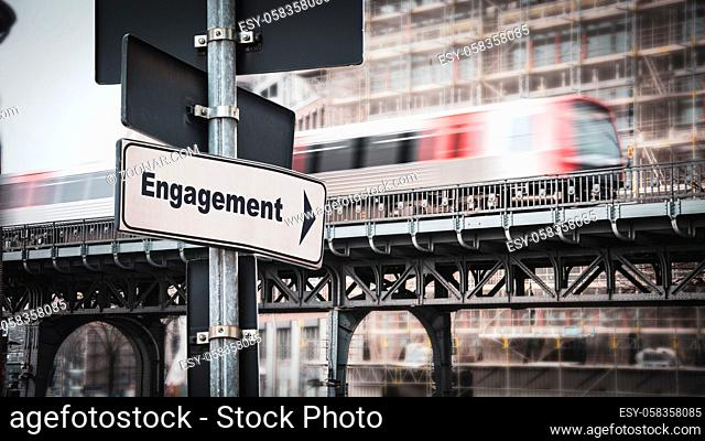 Street Sign the Direction Way to Engagement