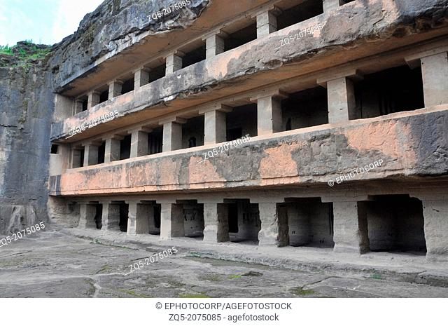 Cave 11 : Do Tal Facade. General View from South West. Do Tal or two storied. Ellora Caves, Aurangabad, Maharashtra, India
