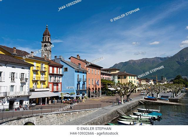 Switzerland, Europe, Ticino, Ascona, Lago Maggiore, lake, harbour, port, houses, homes