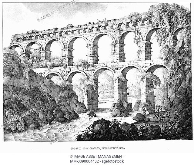 Pont du Gard, Nimes, southern France  Roman aqueduct built c18 BC  No cement used  19th century lithograph