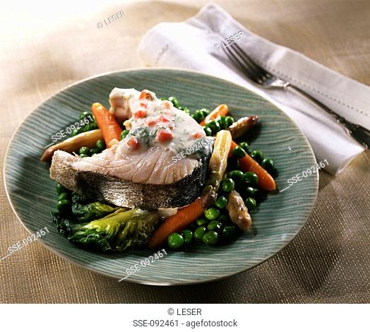 hake with young vegetables
