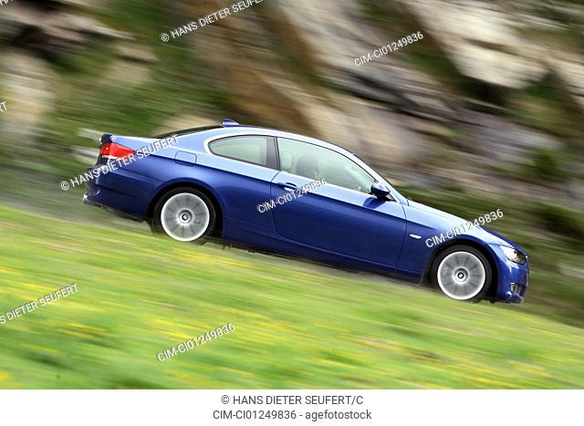 BMW 335i Coupe, coupe, model year 2006-, blue moving, side view, country road