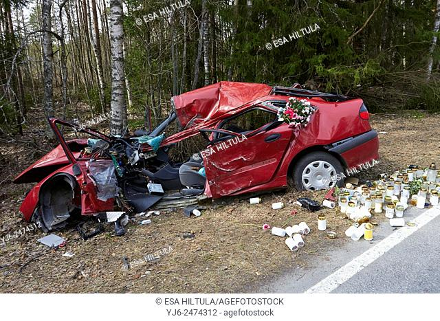 Car accident site with candles and flowers, Lappeenranta Finland