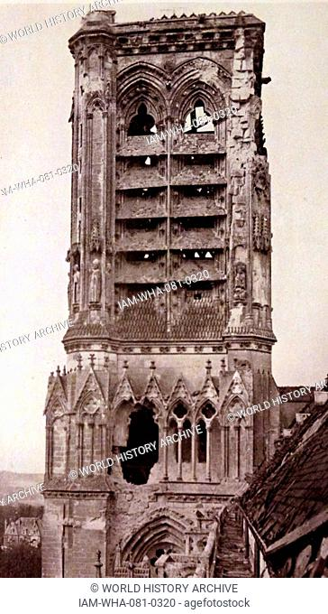 Photographic print of the tower of the Soissons Cathedral, a Gothic cathedral in Soissons, France. Dated 19th Century