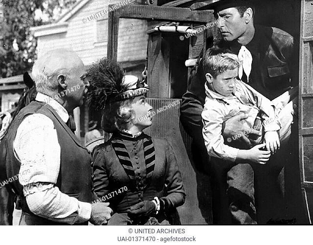 Don Beddoe, Beverly Tyler, Scotty Morrow, George Montgomery US-Marshal Matt Sloane (George Montgomery, r) bringt seinen Sohn Terry (Scotty Morrow, 2.v