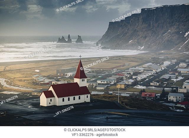 Vik church and cliffs. Vik, Southern Iceland