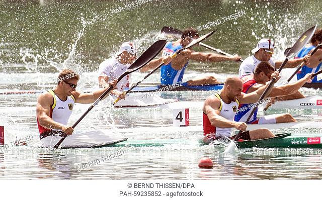 Germany's Ronald Rauhe and Tom Liebscher compete in the Men's Kayak Double K2 200m final at the 2015 European Games, in Mingachevir