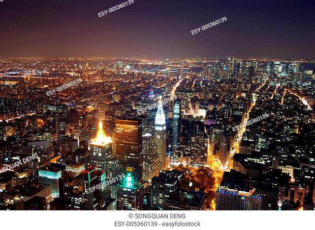 New York City aerial view with Manhattan skyline and skyscrapers