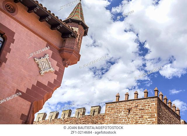 Artistic architecture,Can Modolell,ancient fortified defense tower. Viladecans,Catalonia,Spain