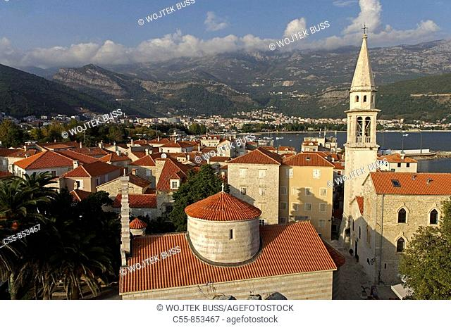 Budva, old town peninsula, Holy Trinity Church, Cathedral of St John, Bell tower, Adriatic coast, Montenegro