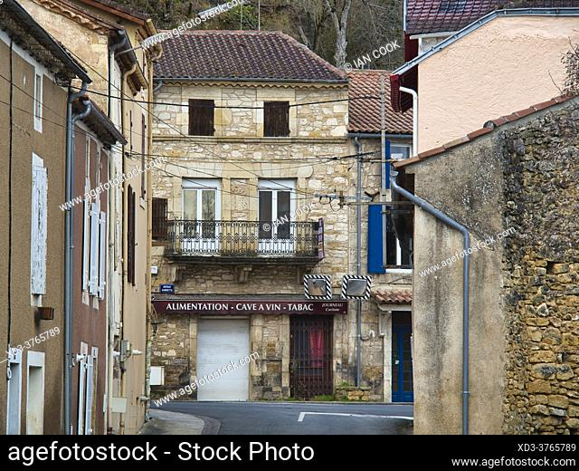 view of Avenue Gambetta from Rue Frederic Benech, Condat, Lot-et-Garonne Department, Nouvelle-Aquitaine, France