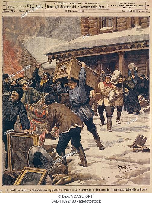 The Russian Revolution: Peasants plundering the properties of the rural rich. Illustrator Achille Beltrame (1871-1945), from La Domenica del Corriere