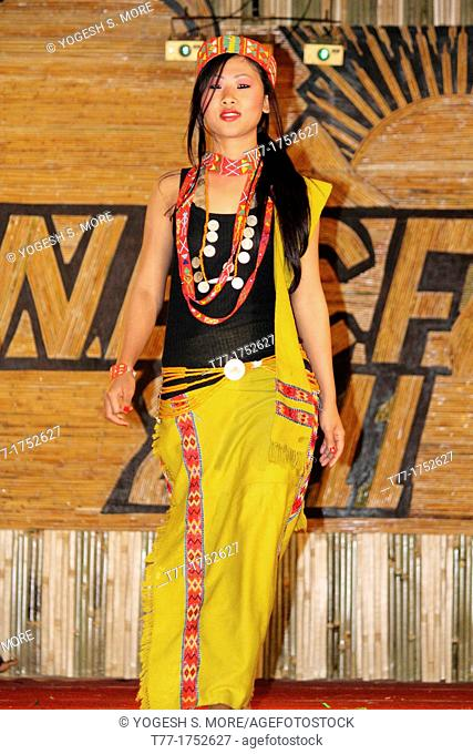 Dress designed from traditional clothes by tribal at Namdapha Eco Cultural Festival, Miao, Arunachal Pradesh, India