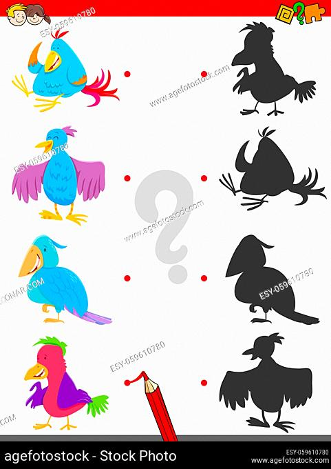 Cartoon Illustration of Matching Shadows Educational Game for Children with Birds Animal Characters