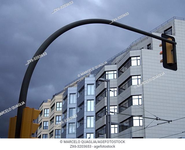 Traffic light post and building's façade. Esplugues de Llobregat city. Barcelona Metropolitan Area, Catalonia, Spain