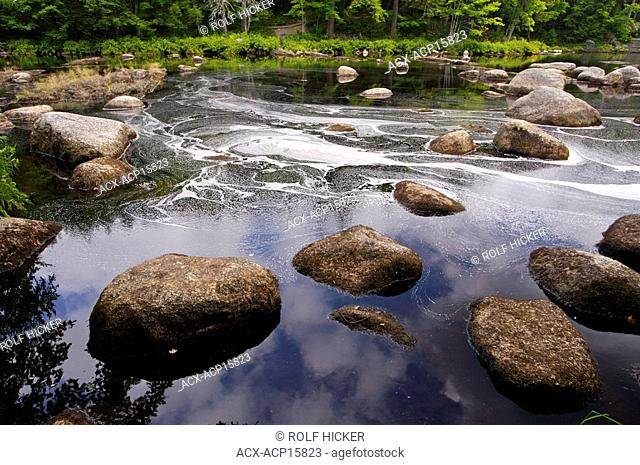 Boulders in the Mersey River at Mill Falls in Kejimkujik National Park and National Historic Site of Canada, Kejimkujik Scenic Drive, Highway 8, Nova Scotia