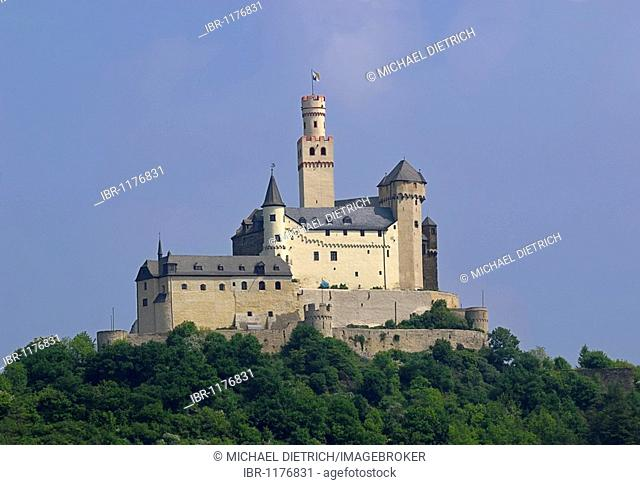 Marksburg castle, medieval castle on a hill, in the UNESCO World Heritage Site Middle Rhine Valley, Rhineland-Palatinate, Germany, Europe