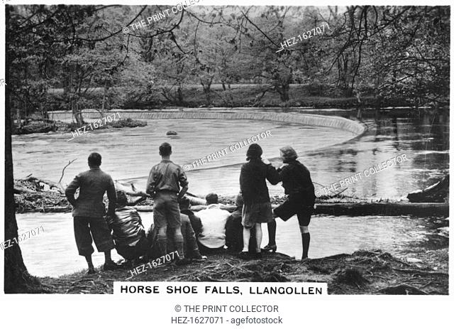 Horse Shoe Falls, Llangollen, 1937. Sights of Britain, third series of 48 cigarette cards, issued with Senior Service, Junior Member, and Illingworth cigarettes