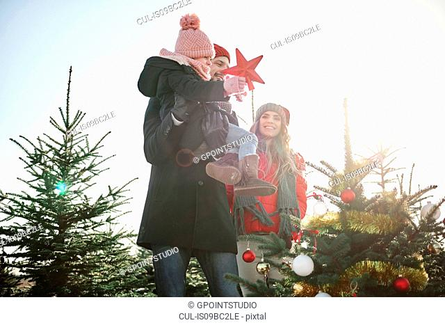 Girl and parents placing star on forest christmas tree