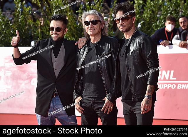"""ROME, ITALY - OCTOBER 16: Alessio De Angelis, Fabrizio Moro, Luciano Ligabueattends the red carpet of the """"""""Luciano Ligabue And Fabrizio Moro"""""""" close encounter..."""