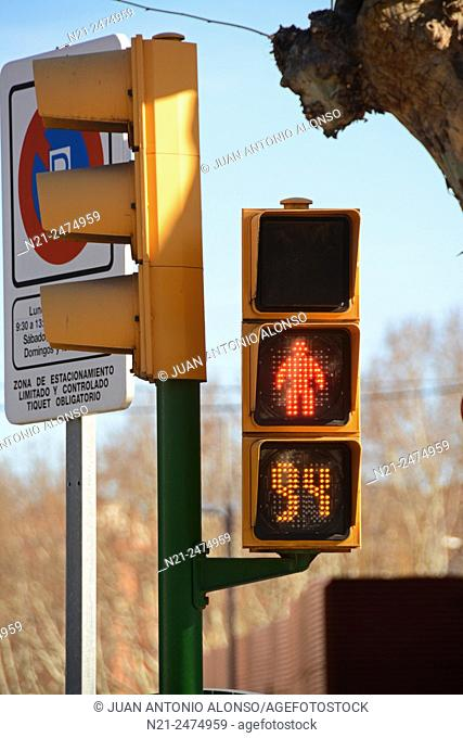 Traffic lights. Calatayud, Zaragoza, Aragon, Spain, Europe