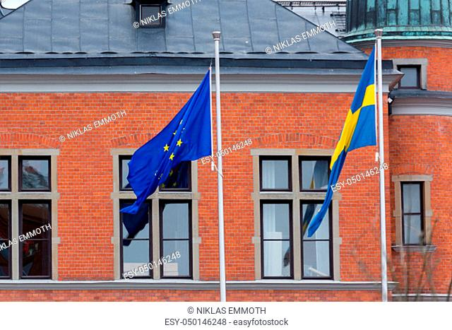 The Flag of the European Union and Sweden