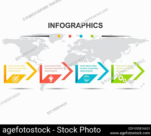 Infographic design template with 4 steps arrow, stock vector