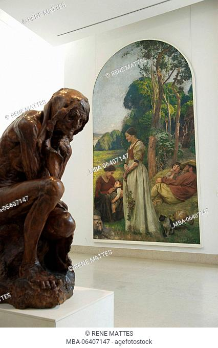 France, Meurthe et Moselle, Nancy, Stanislas square, Fine Arts museum, wood sculpture of Jules Desbois, 1896 and Happy days, painting of Emile Friant, 1895