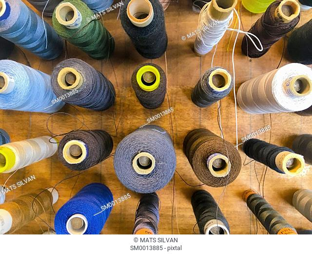 Multi Colored Reels Of Sewing Threads