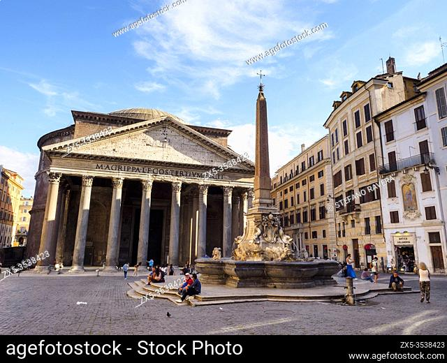 Pantheon in piazza della Rotonda and its fountain constructed by Giacomo Della Porta - Rome, Italy
