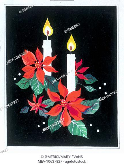 Poinsettias and Candles