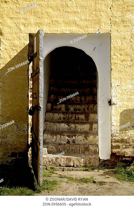 Russia, Goritzy, (Vologda Oblast) Monastery of the Resurrection, door to the cells (founded by Saint Cyril in 1397)