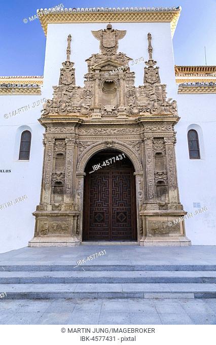 Plateresque portal with coat of arms Emperor Charles V, Iglesia de Santiago, Guadix, Marquesado Region, Granada Province, Andalusia, Spain